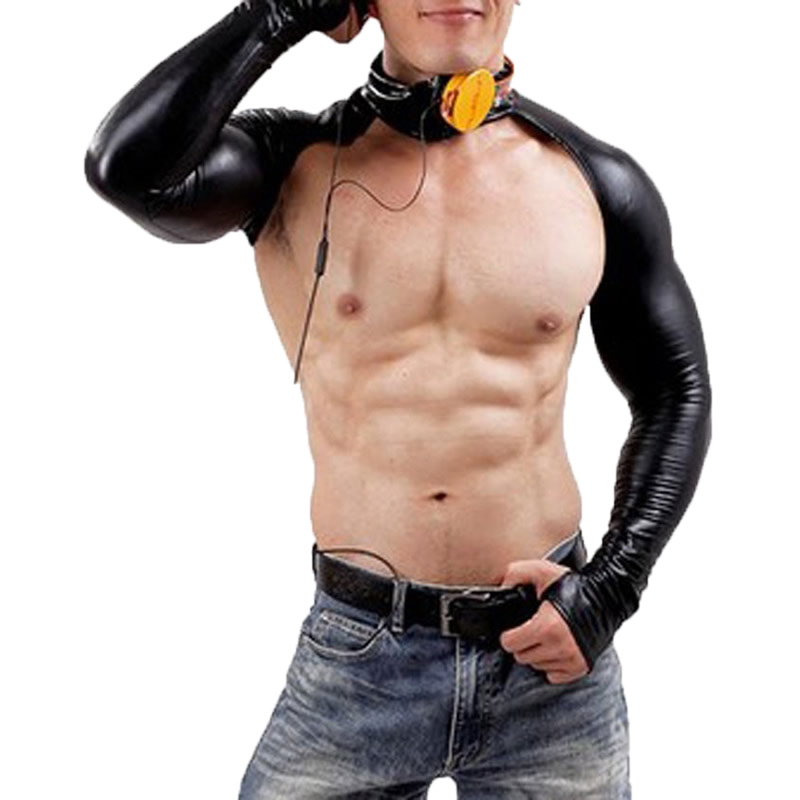 Men Chest Harness Bodybuilding Tops PU Leather Long Sleeve Crop Tops Male Shoulder Strap Stage Costume Clubwear Gay Exotic Tanks
