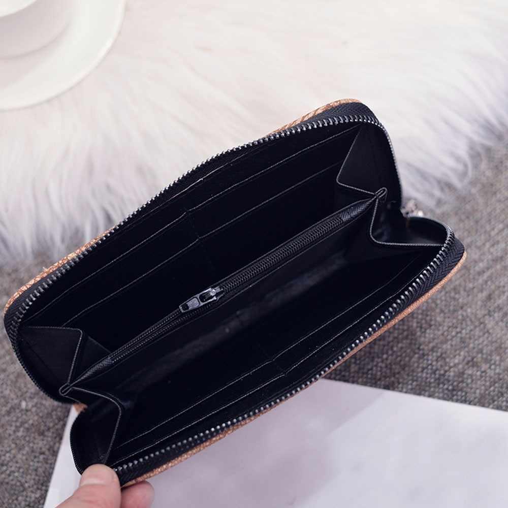 新しい女性財布女性ロング財布コインポケット韓国語バージョンつや消しレトロダブル倍大容量カードバッグ財布 #