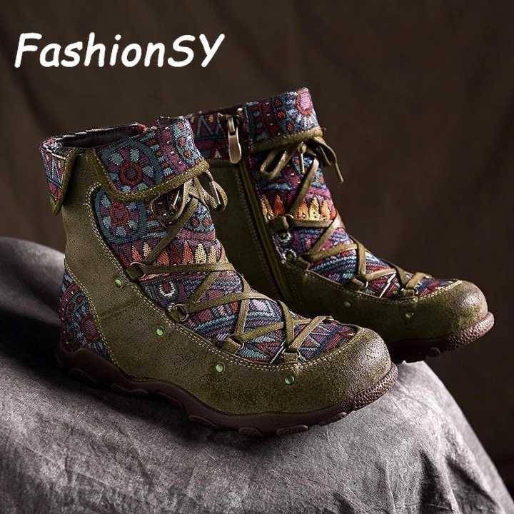 2019 yeni kış kadın çizmeler Retro eğlence nakış dikiş ayak bileği bağcığı botları çapraz bağlı rahat kadın ayakkabı düz ayakkabı
