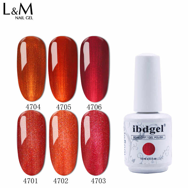 3 Pcs Baru Ibdgel Merk Royal Merah Seri Gel Kuku 15 Ml UV SOAK Off Nail Gel Cat Kuku gel LED Varnish untuk Nail Art