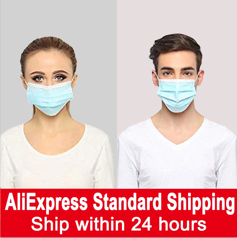 5-200pcs Disposable Nonwove 3 Layer Ply Mask Filter Safety Meltblown Cloth Maska Protective Masks Anti Dust Mask Face
