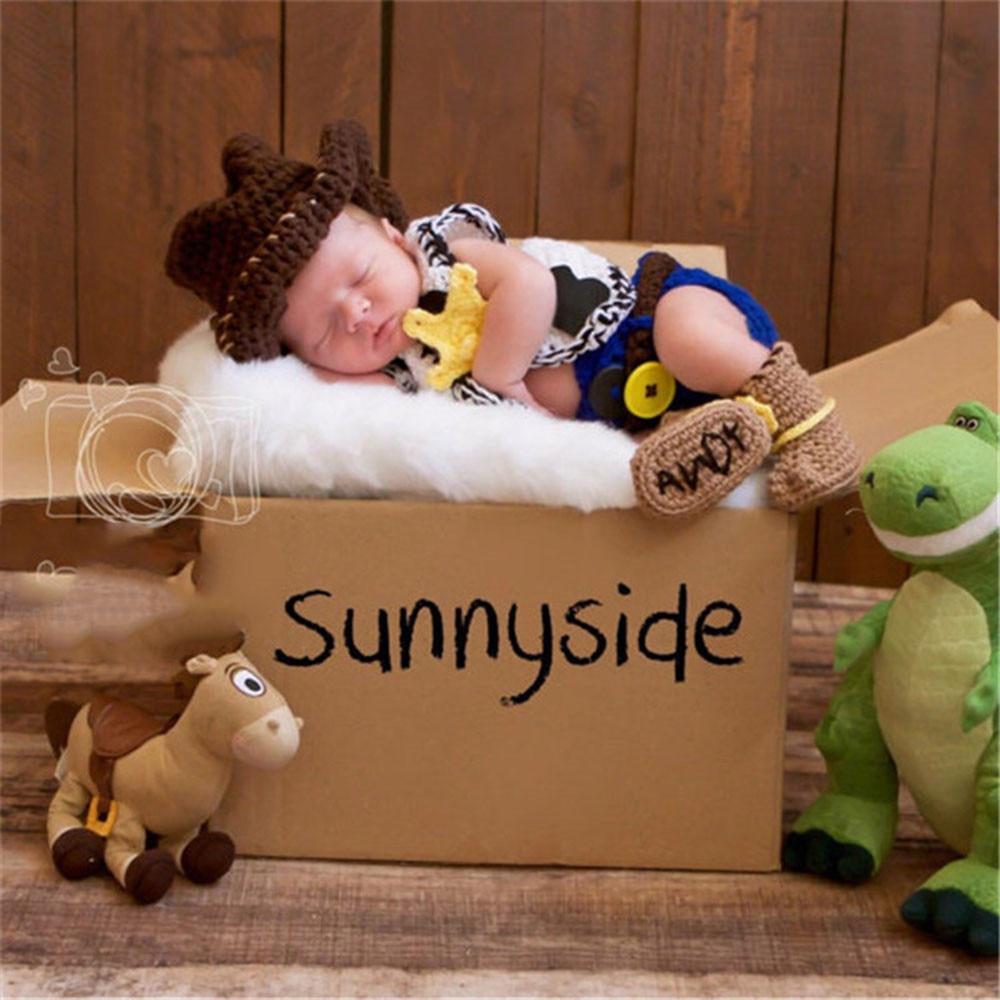 Latest Newborn Boy Cowboy 5 Piece Set Knitted Boys Photography Props Knitting Newborn Shower Gift