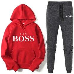 Mode Trainingspak 2 Delige Set Herfst Ja Boss Winter Trui Hoodie + Lange Broek Sport Pak Vrouwelijke Sweatshirt Sportkleding Pak