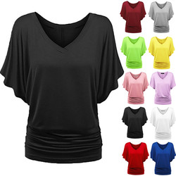 Camiseta feminina harajuku, top plus size, liso, gola em v, manga morcego, bainha solta, camiseta 5xl, dropshipping ##5 #5