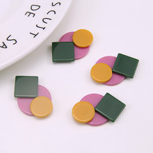 2019 hot personality stitching collision color geometric earrings resin patch stud material diy jewelry accessories