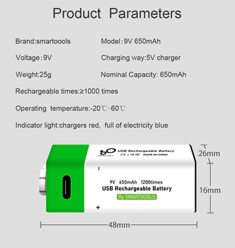 9V 650mAh lithium Rechargeable battery USB charging 9 v li-ion Square battery for Toy Remote Control KTV Multimeter Microphone 4