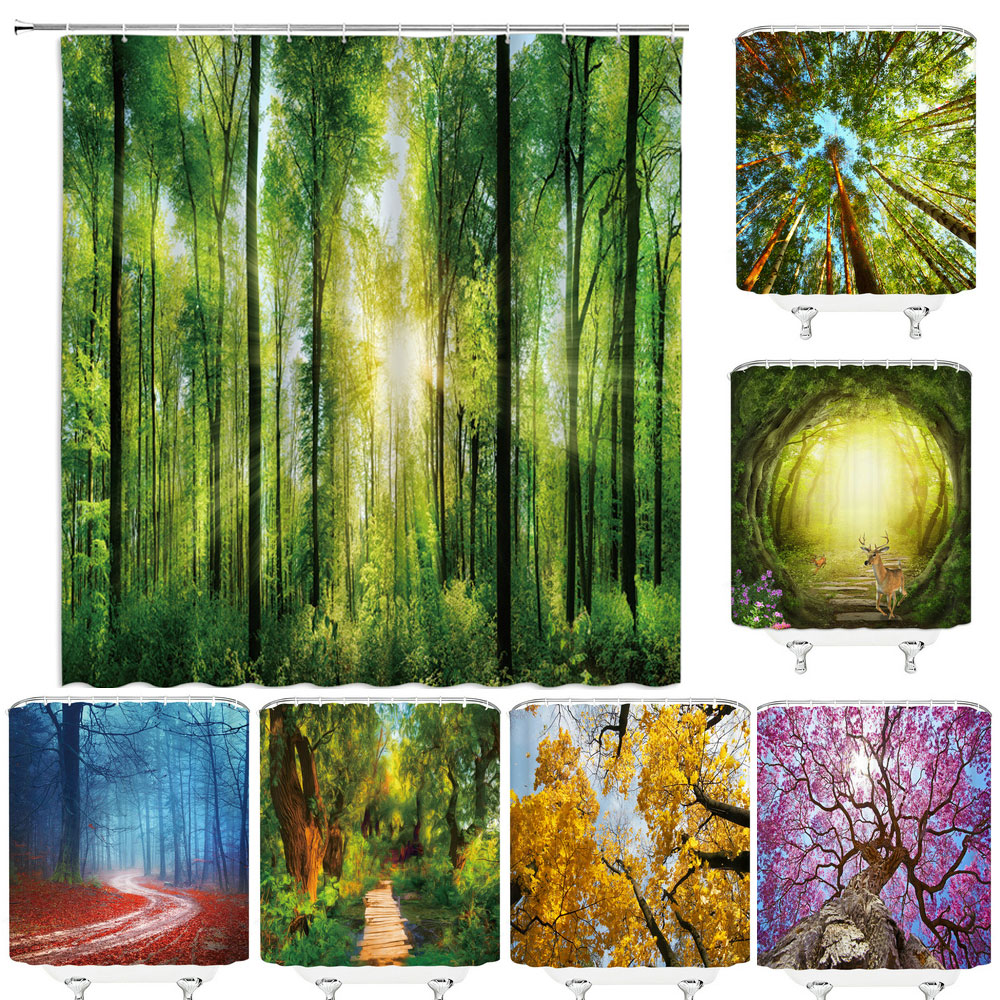 Nature Forest Shower Curtain Waterproof Bathroom Screen Trees Scenery Curtains Polyester Cloth Home Decoration Bath Curtains
