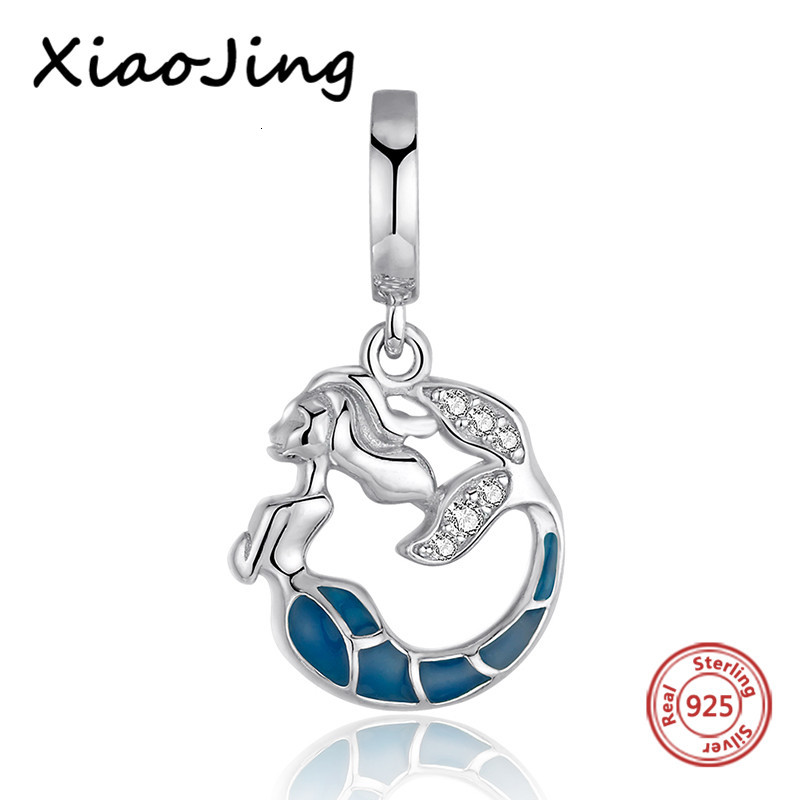 Sterling silver 925 Mermaid glowing Beads with zirconia Fit Original Pandora charm Bracelet diy jewelry making for women gifts(China)