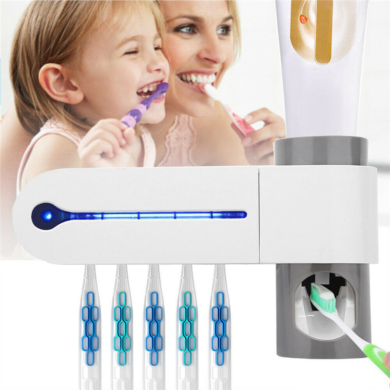 ABS 2 In 1 UV Toothbrush Sterilizer Toothbrush Storage Holder Automatic Toothpaste Squeezer Dispenser Home Bathroom Supplies