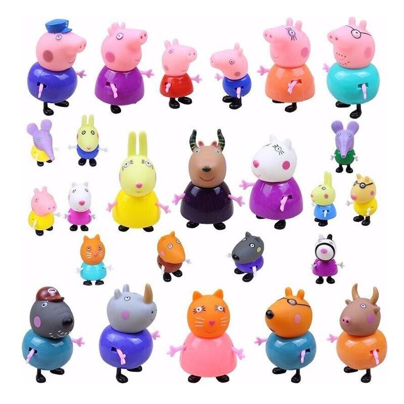 Набор кукол из мультфильма Свинка Пеппа, мягкая экшн-фигурка из ПВХ с головой 1/6, Джордж, свинка, друг, учитель, коза, 25 фигурок, Детские ролевы...