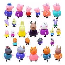 Peppa pig anime bonecas conjunto pvc macio 1/6 cabeça figura de ação george porco amigo cabra professor 25 figuras crianças role-playing brinquedos