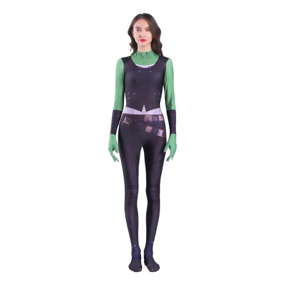 Los Vengadores: guerra del infinito Gamora monos mamelucos cosplay traje de los niños adultos guardianes de la Body de la galaxia Zentai traje de cosplay