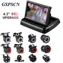 2 в 1 парковочная камера, 4,3 дюйма, складной HD монитор, видеоплеер, светодиодный, ночное видение, водонепроницаемая, камера заднего вида, инфракрасная