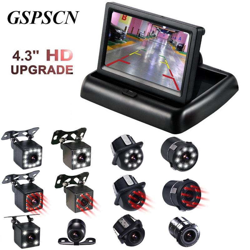 2 in 1 Einparkhilfe 4,3 inch Klapp Auto HD Monitor Video Player LED Nachtsicht Wasserdichte Rückansicht Backup kamera infrarot
