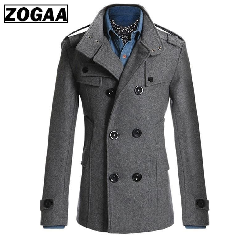 ZOGAA 2019 Spring Men's Jacket Warm Woolen Coat Casual Slim Fit Double-breasted Business Male Jacket Overcoat Trench 4 Colors