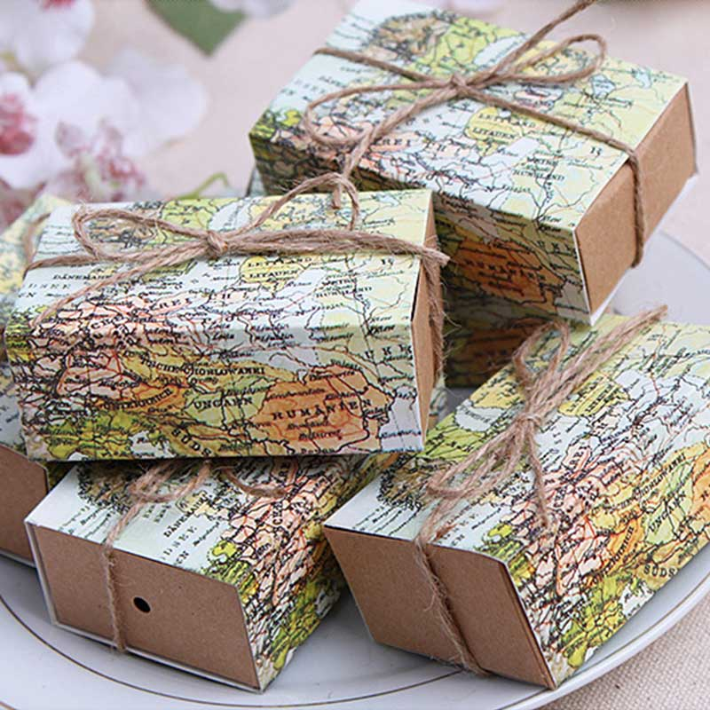 10Pcs Gift Box Kraft Drawer Paper Novelty World Map Pattern Packaging Bag Vintage Wedding Birthday Favors Candy Boxes image