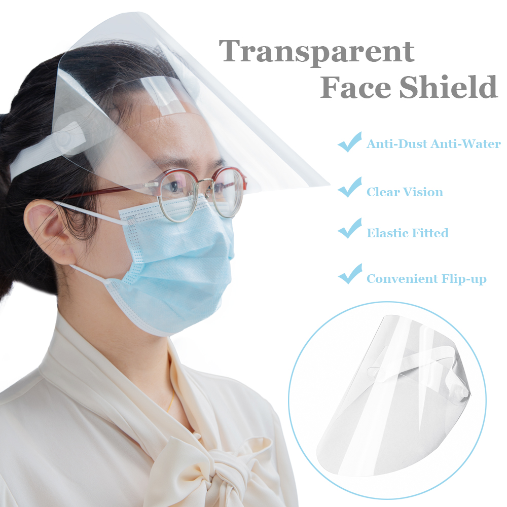 10-50pcs Clear Face Cover and Full-Face Clear Visor Mask in Flip-Up Design for Virus Protection 5