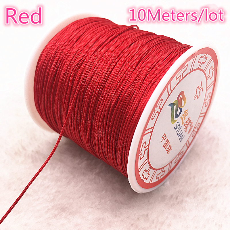 Red Silk cord on Cotton Base 1 mm Satin Cord for Macrame Bracelets 32 feet 10 meters
