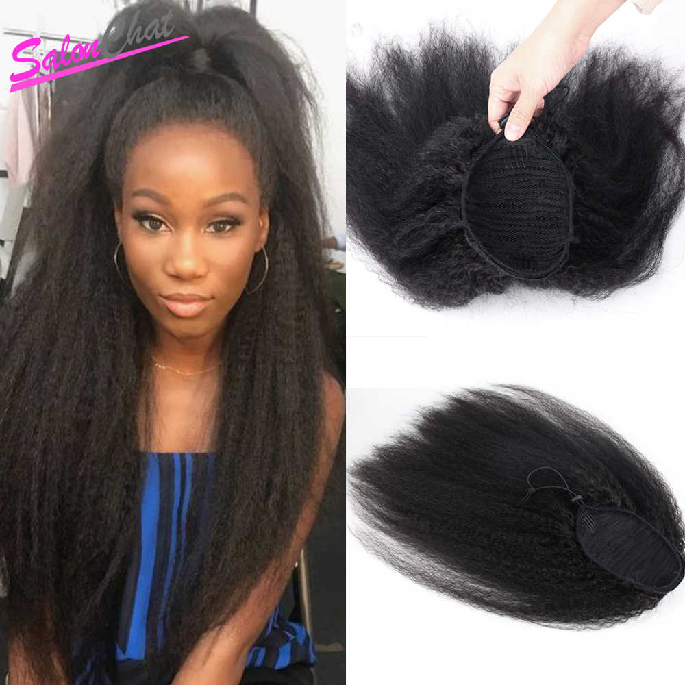 Kinky Straight Ponytail Brazilian Human Hair Drawstring Ponytail Clip In Hair Extensions Coarse Yaki Natural Remy Afro Ponytail