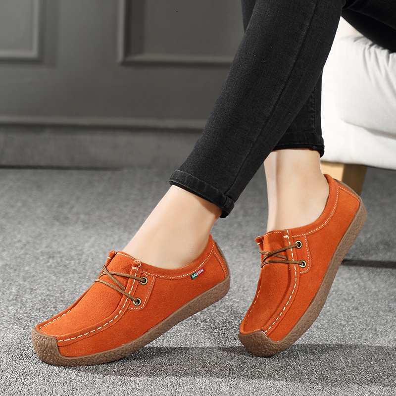 Loafers Footwear Suede-Sneakers Flat-Shoes Slip-On Genuine-Leather Casual Women Ladies title=