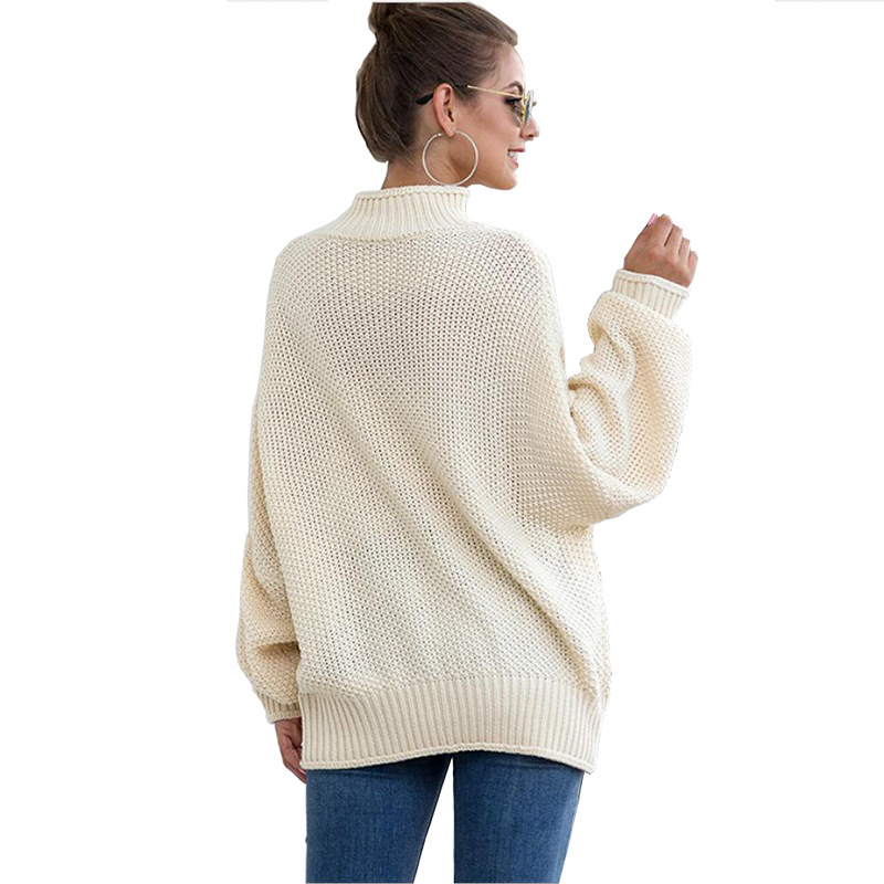 Fall and Winter 2019 New Rough Wool Sweater Women's Curled High-collar Bat Sleeve Knitted Shirt 2