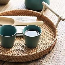 Ротанговая хлебная корзина, Круглый тканый чайный поднос с ручками для сервировки обедов, кофейных завтраков(8,7 дюйма