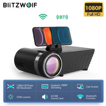 Blitzwolf BW-VP8 wi fi projetor 5500lumens lcd led elenco tela buetooth fone de ouvido som sem fio telefone mesma tela cheia hd 1080p 1