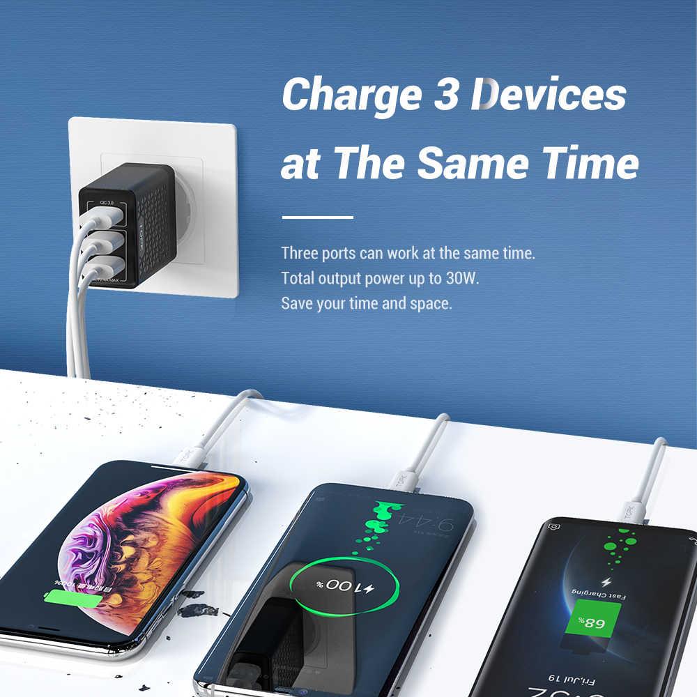 Topk B348Q Pengisian Cepat 3.0 Usb Charger QC3.0 Cepat Pengisian Multi Charger untuk Samsung S10 Xiaomi Mi9 Perjalanan Dinding Ponsel charger