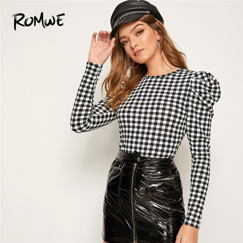 ROMWE Puff Sleeve Gingham Fitted Blouses Woman Clothes 2019 Autumn Girly Round Neck Long Sleeve Blouse Ladies Plaid Top