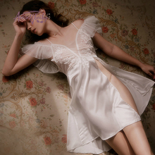 French Fairy Womens Nightgown Sleepwear Sexy Ice Silk Temptation Embroidered Backless Lace Nightdress Summer Sleeping Dress