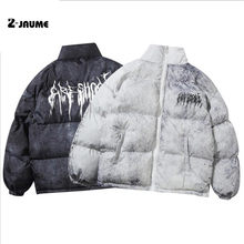 2021 Men Hip Hop Oversize Padded Jacket Coat Streetwear Tie Dye Graffiti Jacket Parka Cotton Harajuku Winter Jacket Coat Outwear