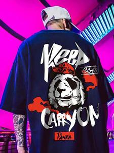 Punk Tshirt Tees Short-Sleeve Cool Hip-Hop Panda-Print ZAZOMDE Cotton Mens Fashion Summer