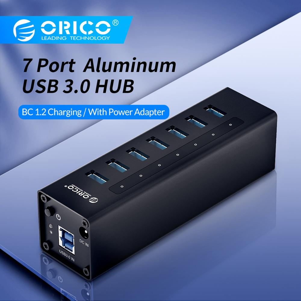 ORICO 7 Port High Speed Desktop USB3.0 HUB Support BC1.2 Charging With Power Adapter Aluminum USB Splitter For Macbook-Black
