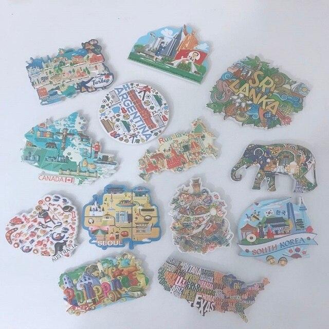 3D Resin Refrigerator Stickers World Tourism USA European  London Paris Fridge Magnet Souvenir Magnetic Home Decor Gift Ideas 1