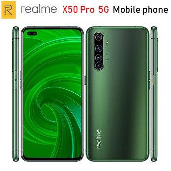 Перейти на Алиэкспресс и купить Оригинальный Realme X50 Pro 5G мобильный телефон 6,44 дюйм6/8/12 ГБ ОЗУ 128/256 Гб ПЗУ Snapdragon865 64MP 4200 мАч NFC 5G Смартфон Android 10