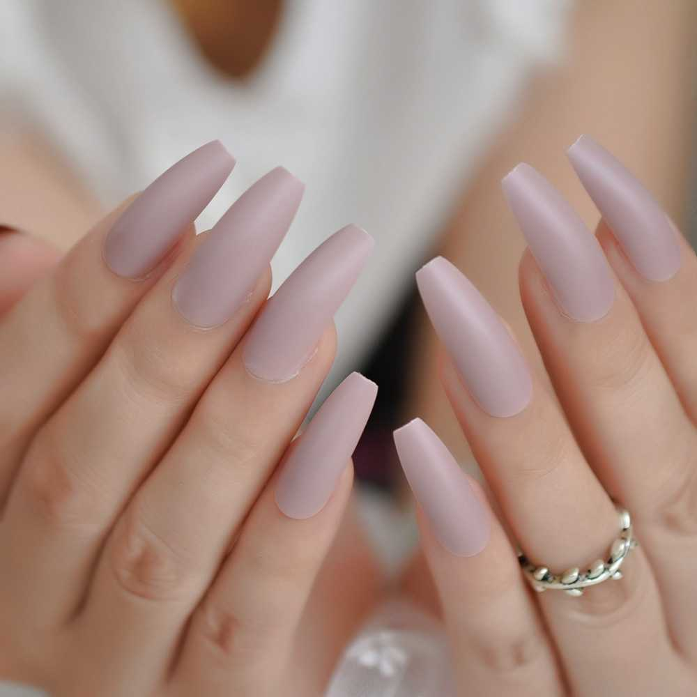 Extra Long Coffin Fake Nails Matte Nude Pink Frosted Elegance Ballerina Ladies Party Pre Designed Nails 24 Aliexpress