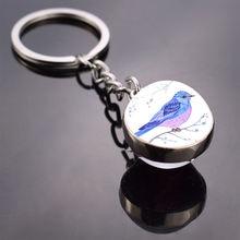 Милая птица фото стеклянный шар брелок Богемия длинные цепи