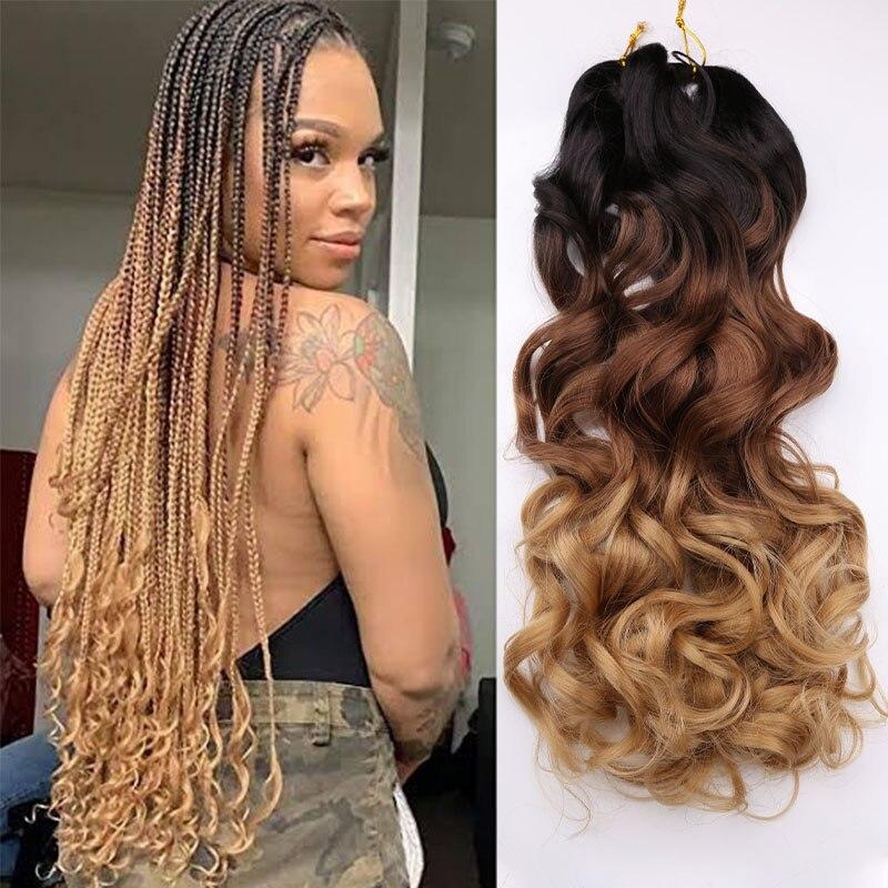 Спиральные вьющиеся синтетические волосы, свободные волнистые вязаные косички, предварительно растягивающиеся плетеные волосы для женщин...