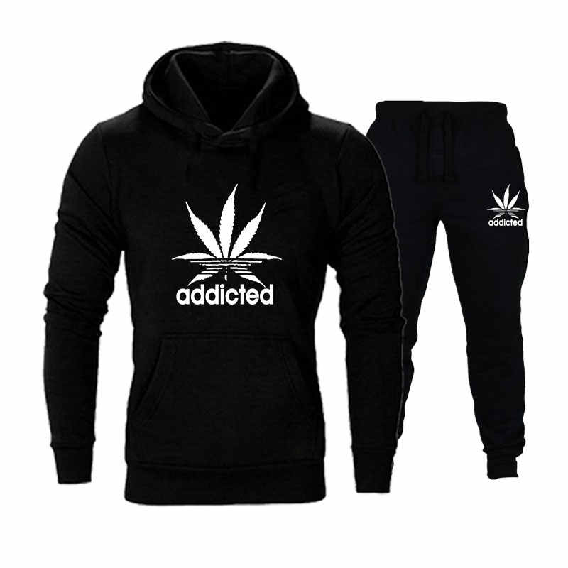New Addicted Printed Hoodie Set Fashion Men Hooded Pulloevr + Pants 2 pcs/Set Couple Tracksuit Casual Sportwear Suits