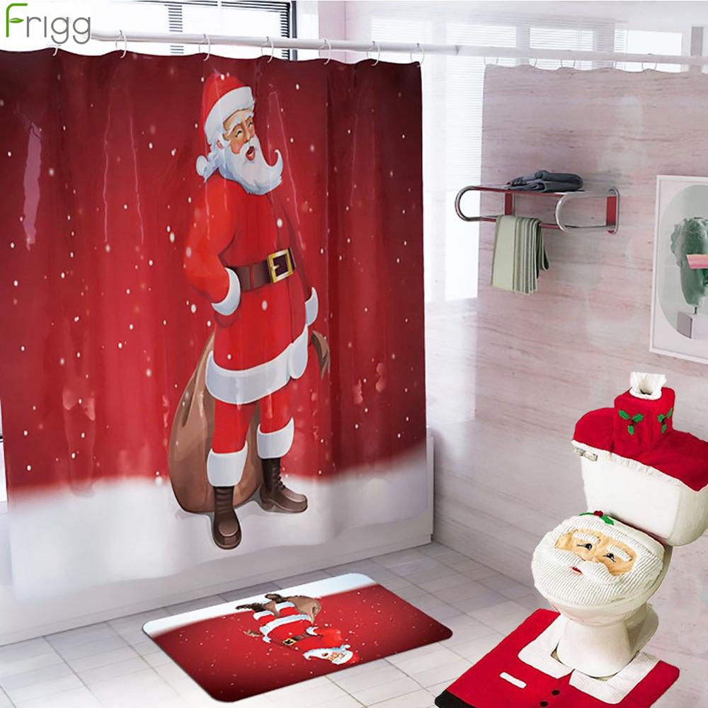 Santa Claus Christmas Tree Bathroom Waterproof Shower Curtain Decoration For Home Ornaments Merry