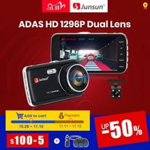 """Junsun câmera do traço automático adas hd completo 1296p drive recorder registrador de vídeo dvr carro com câmeras traseiras 4 """"ips tela"""