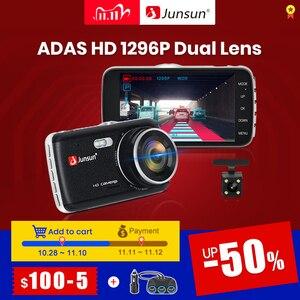 """Image 1 - Junsun câmera do traço automático adas hd completo 1296p drive recorder registrador de vídeo dvr carro com câmeras traseiras 4 """"ips tela"""