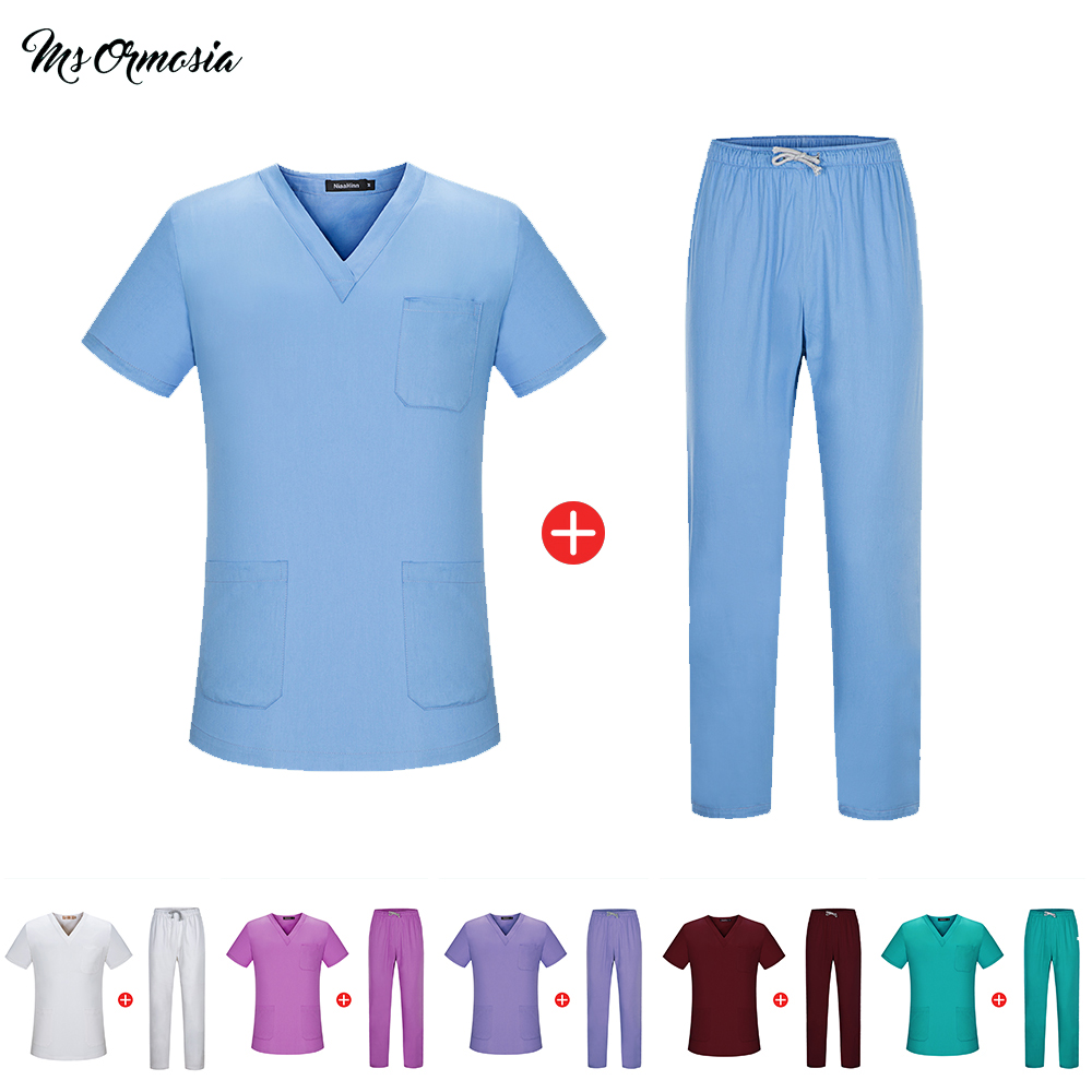 Unisex Solid Color Surgery Clothes V-neck Short Sleeve Surgical Clothing Doctor Medical Uniforms Top High QualityTops And Pants