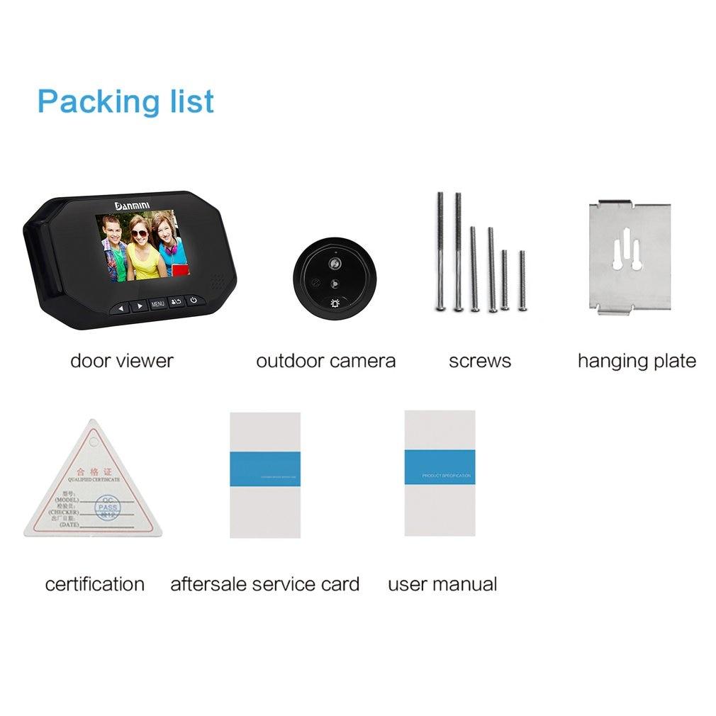 Danmini 3.0 ''TFT LCD Screen 1.3MP HD Camera Video Doorbell 145 Degree Wide Angle Night Vision Digital Door Peephole Viewer