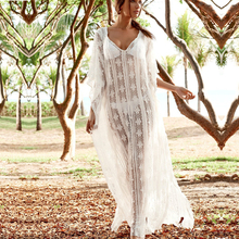 Bohemian Women White Long Dress Ruffles Lace Batwing Sleeve V-Neck Sexy Hollow Out Maxi Dress Casual Holiday Beach Dresses summer women bohemian dress long sexy v neck ruffles short sleeve dresses lace up red beach dress holiday elegant dress