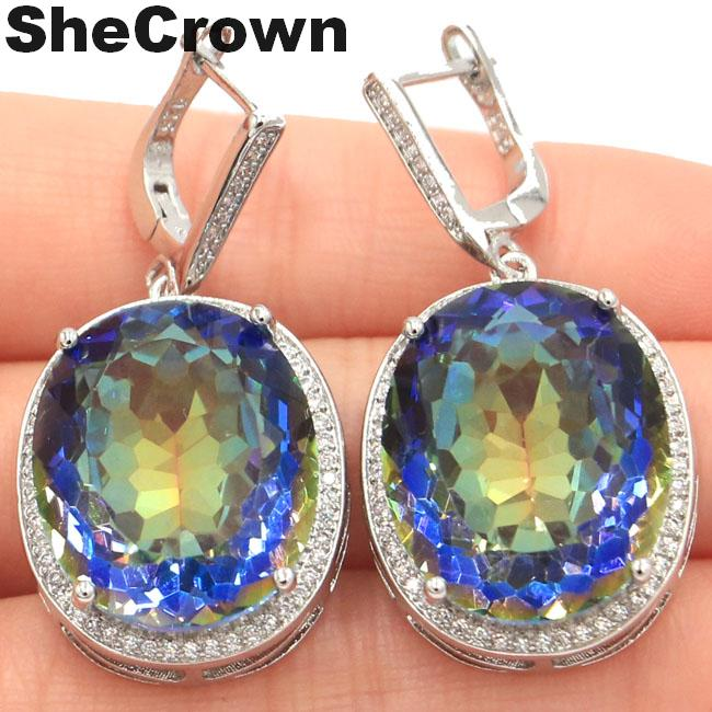 SheCrown Big Oval 22x18mm 17.5g Fire Rainbow Violet Mystic Topaz CZ Ladies 925 Silver Earrings 40x20mm