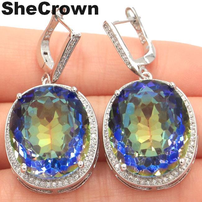 SheCrown Big Oval 22x18mm 17.5g Fire Rainbow Violet Mystic Topaz CZ Ladies 925 Silver Earrings 40x20mm