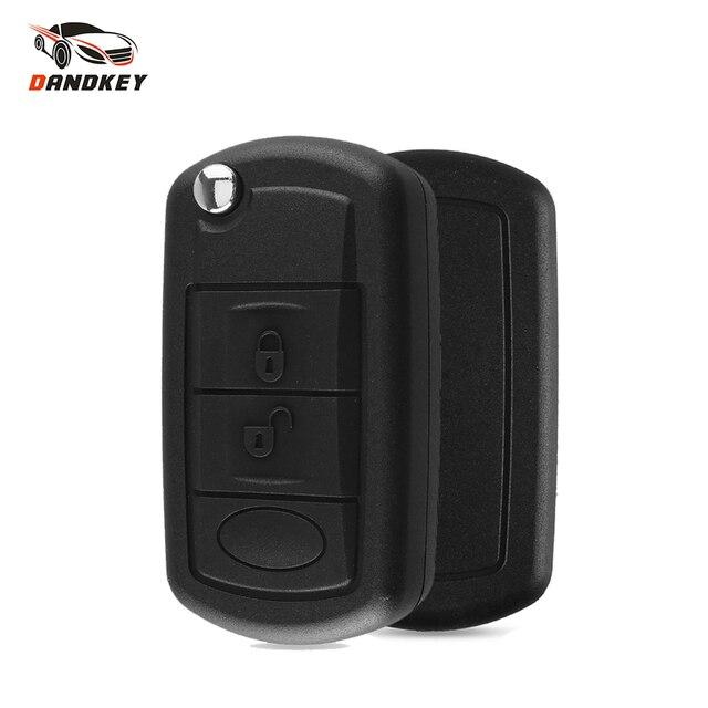 Dandkey 원격 키 플립 폴딩 키 쉘 케이스 Fob 3 버튼 레인지 로버 용 랜드 로버 용 LR3 프리랜더 Evoque 디스커버리 스포츠