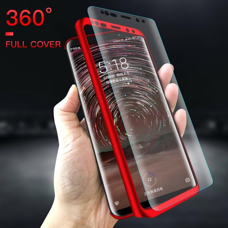 Funda protectora de cuerpo completo para móvil, cristal para Xiaomi Mi 9T 9 8 SE 10 Lite A3 A2 A1 5X 6X CC9 Max Note 2 3 F1 Play Hard PC, 360