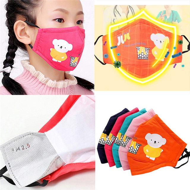 Cute PM2.5 Washable Mouth Mask With Valve Kids Children Anti Haze Dust Mask Nose Filter Face Muffle Bacteria Flu Respirato 5